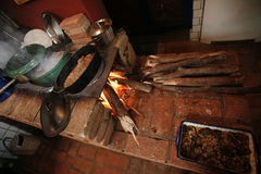 cooking in firewood Royalty Free Stock Image