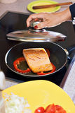 Cooking fish Royalty Free Stock Photography