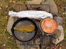 Cooking Fish Dinner on Campfire. Cooking delicious fish dinner on campfire: Fish (Grayling) frying in cast iron pan and steaming in tin foil Royalty Free Stock Photography