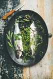 Raw uncooked sea bass fish with herbs over rustic background. Cooking fish dinner. Flat-lay of raw uncooked sea bass fish with fresh herbs on dark plate over royalty free stock photography