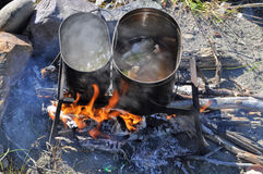 Cooking fish on the fire. Royalty Free Stock Photo
