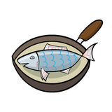 Cooking fish in a frying pan. Cartoon cooking fish in a frying pan. Vector graphics Stock Photo