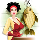 Cooking the fish. Illustration with young woman thinking about how she will cook such huge fish stock illustration