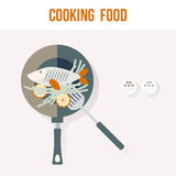 Cooking Fish Kitchen Recipe Card, Flat Vector Illustration. For Your Projects Royalty Free Stock Photo