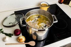 Cooking fish soup in pot. Cooking fish soup. Broth with vegetable and fish head in pot on ceramic hob. Onion,garlic,herb and wooden spoon on kitchen board stock image