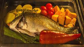 Cooking fish and vegetables in baking oven Royalty Free Stock Images