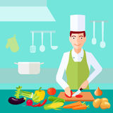Cooking Flat Color Concept Stock Image