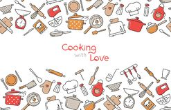Cooking flat horizontal seamless pattern with lettering or place for text. vector illustration
