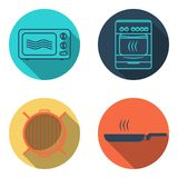 Cooking icon set. Cooking flat icon set, microwave, grill, skillet and oven Royalty Free Stock Photo