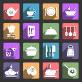 Cooking flat icons set Stock Images