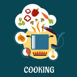 Cooking flat infographic with vegetable soup Stock Photography