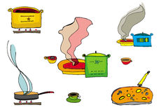 Cooking food. Vector colorful set. Design elements Royalty Free Stock Images