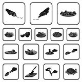 Cooking food black icons in set collection for design. Kitchen, equipment and tools vector symbol stock web illustration. Cooking food black icons in set Stock Photo