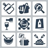 Cooking food and dining related vector icons Royalty Free Stock Photo