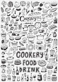 Cooking food doodles. Cooking food - set icons in sketch style Royalty Free Stock Image