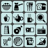 Cooking food icons black Royalty Free Stock Photography