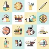 Cooking food icons flat line Stock Photography