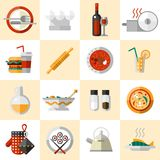 Cooking Food Icons Set. With cutlery chef hat wine bottle pot isolated vector illustration vector illustration