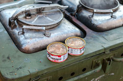 Cooking food on a military field kitchen in field conditions Stock Image
