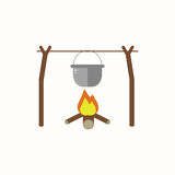 Cooking food in nature in flat design. Boiler hanging on a branch over a fire isolated on white background. Stock Photo