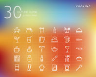 Cooking and food outline icons set Stock Photography