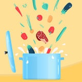 Cooking food in Pot Stock Images