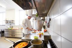 Male chef cooking food at restaurant kitchen Stock Photography