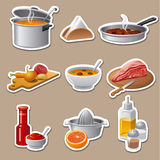 Cooking food stickers Stock Image