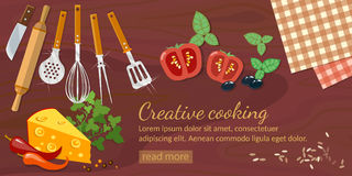 Cooking food top view kitchenware banner. Cooking food top view and kitchenware banner Stock Photos