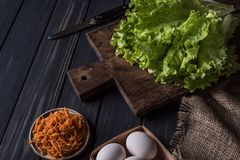 Cooking food on a wooden table stock photos