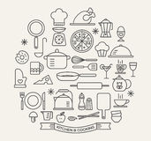 Cooking Foods and Kitchen icons set Royalty Free Stock Photo