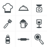 Cooking Foods and Kitchen outline icons set Stock Photo