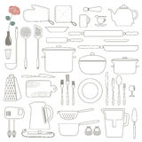 Cooking Foods and Kitchen outline icons set. Thin line. Royalty Free Stock Images