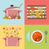 Cooking. Four stages of preparing vegetable soup Royalty Free Stock Image