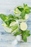 Cooking fresh cold summer beverage mojito with lime, leaf mint, straw, ice cubes, soda on white wood background. Cooking fresh cold summer beverage mojito with Stock Images
