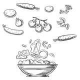 Cooking fresh healthy vegetarian salad sketch Royalty Free Stock Photos