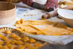 Cooking fresh pasta Royalty Free Stock Photos