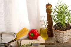 Cooking with fresh rosemary and vegetables Royalty Free Stock Photos