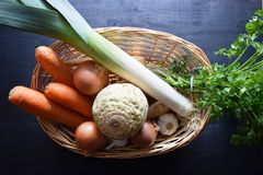 Cooking fresh vegetable . Vegetable soup .Top View . Bio Healthy food herbs and spices. Organic vegetables on wood Royalty Free Stock Photos