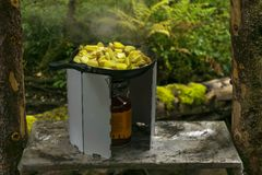 Cooking fried potatoes in the field royalty free stock photo