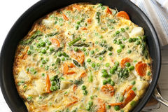Cooking Frittata in Frypan Stock Photo