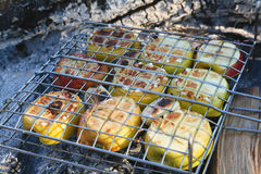 Cooking fruits - grill BBQ Stock Photography