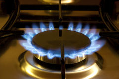 Cooking by gas light Stock Image