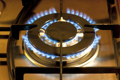 Cooking by gas light Stock Photos