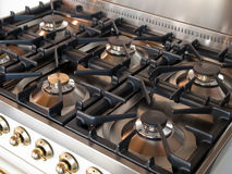 Cooking on a gas stove Royalty Free Stock Photography