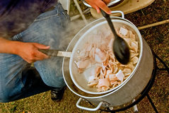 Cooking on gas stove outdoor Stock Photos