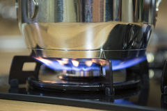Cooking on gas stove. Stock Photos