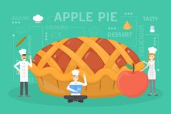 Cooking giant apple pie. stock illustration