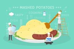 Cooking giant mashed potatoes. stock illustration