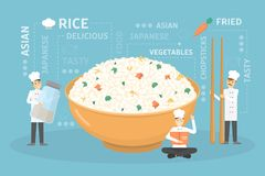 Cooking giant rice bowl. Cooking giant rice bowl with vegetables. Chefs in uniform building food vector illustration